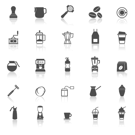 reflect: Barista icon with reflect on white background, stock vector Illustration