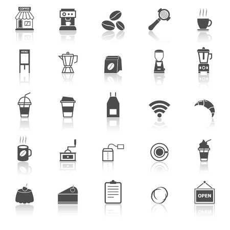 reflect: Coffee shop icons with reflect on white background, stock vector Illustration