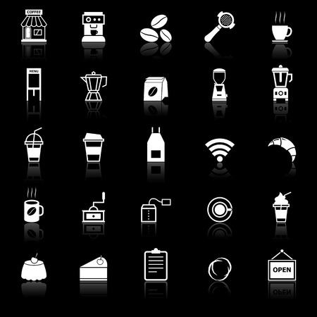 reflect: Coffee shop icons with reflect on black background, stock vector