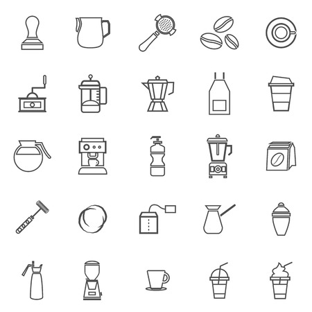 Barista line icon on white background, stock vector Иллюстрация