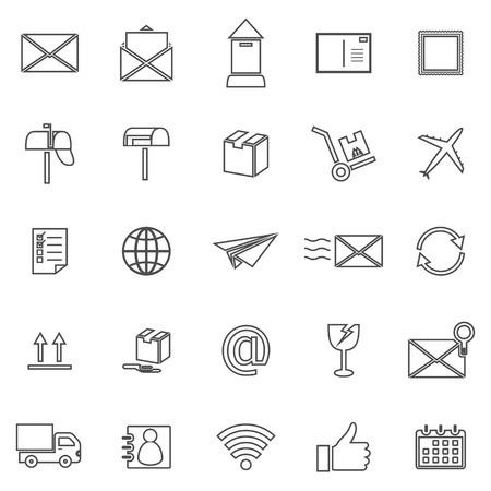 pillar box: Post line icons on white background, stock vector Illustration