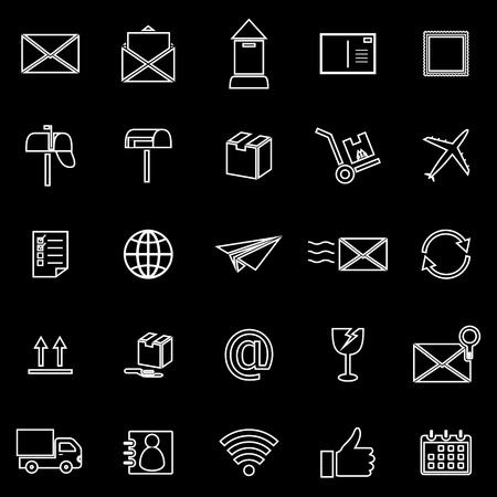 pillar box: Post line icons on black background, stock vector Illustration