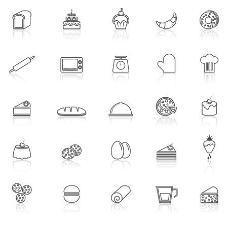 reflect: Bakery line icons with reflect on white background, stock vector