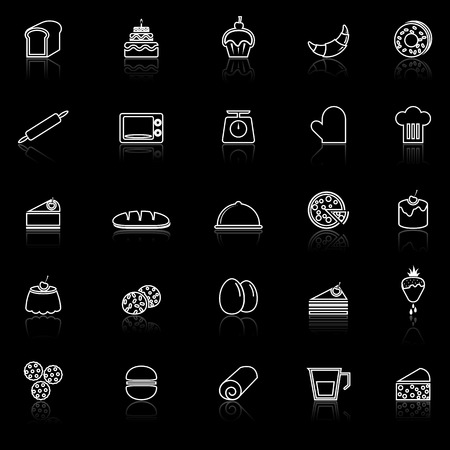 reflect: Bakery line icons with reflect on black background, stock vector