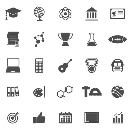 scholarly: College icons on white background