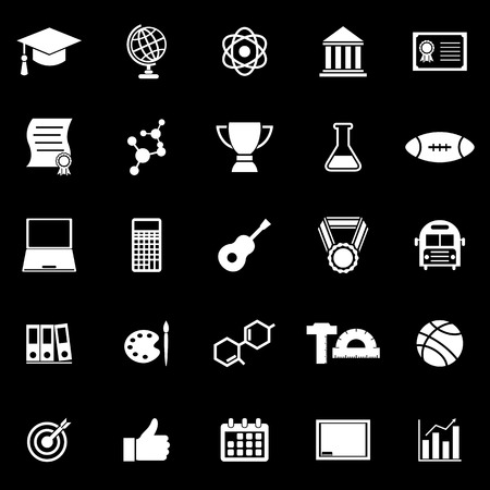 scholarly: College icons on black background, stock vector Illustration