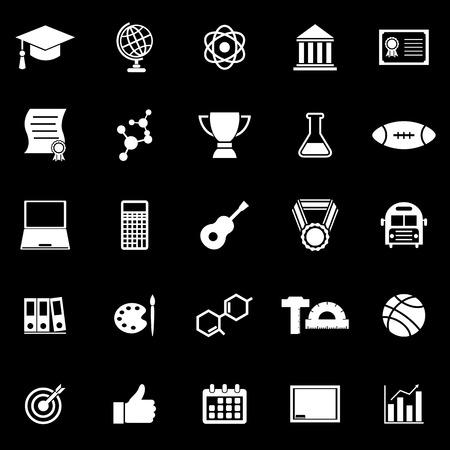 brotherhood: College icons on black background, stock vector Illustration