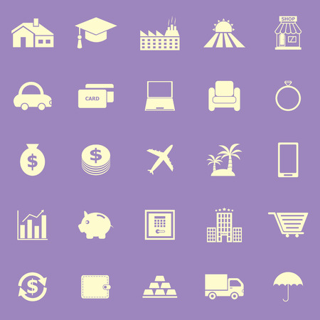 borrowing money: Loan color icons on violet background Illustration