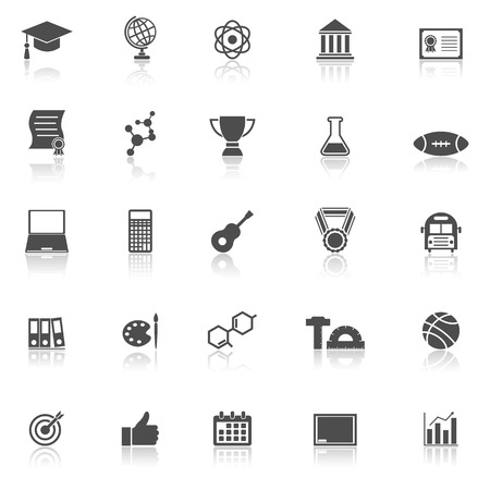 reflect: College icons with reflect on white background
