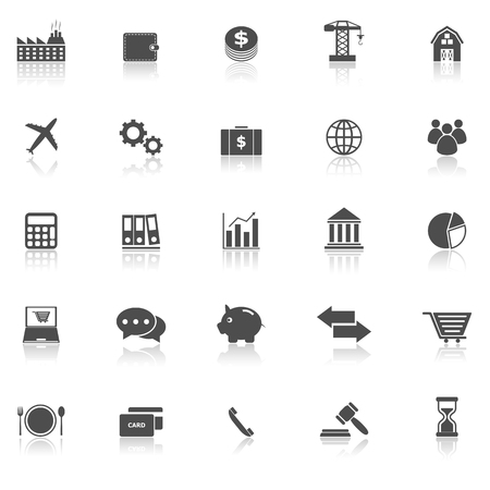 reflect: Economy icons with reflect on white background