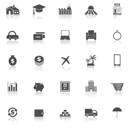 reflect: Loan icons with reflect on white background Illustration