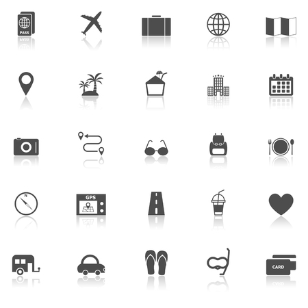 reflect: Trip icons with reflect on white background