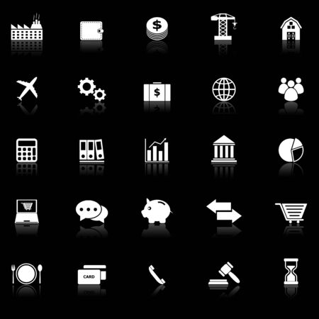 reflect: Economy icons with reflect on black background, stock vector