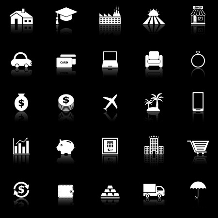 reflect: Loan icons with reflect on black background, stock vector