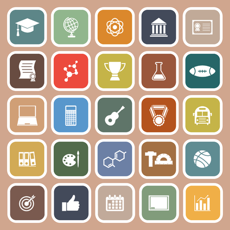 scholarly: College flat icons on brown background