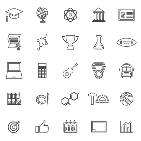 brotherhood: College line icons on white background