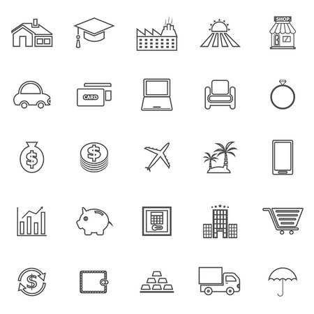 borrowing money: Loan line icons on white background