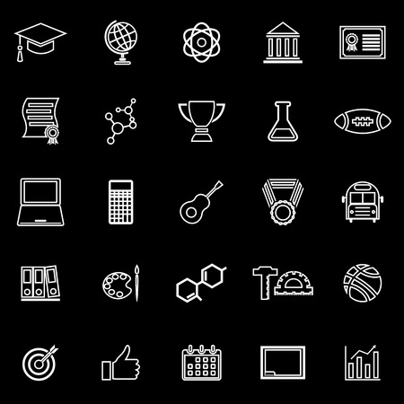 toga: College line icons on black background, stock vector