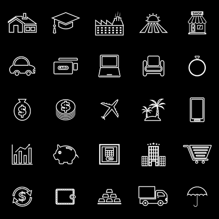 borrowing money: Loan line icons on black background, stock vector