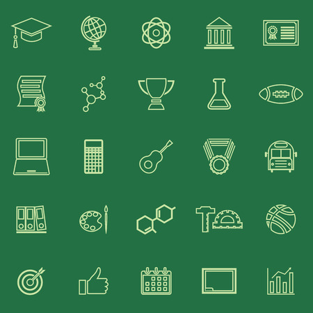 toga: College line color icons on green background, stock vector Illustration