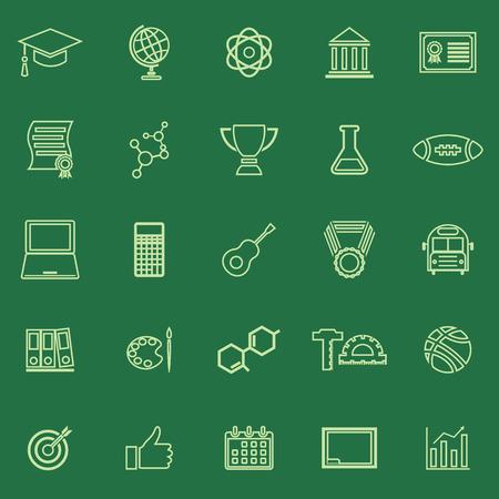 icônes de couleur de ligne de College sur fond vert, vecteur boursier Vecteurs