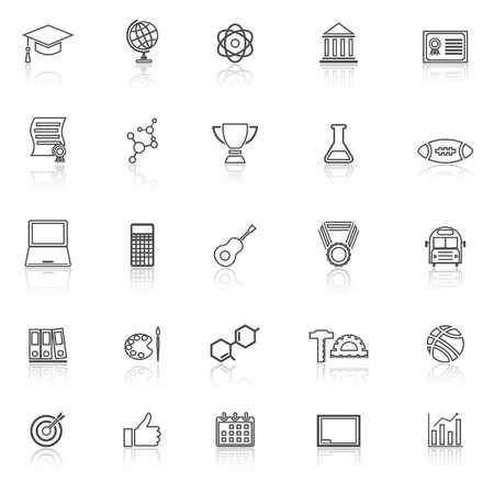 reflect: College line icons with reflect on white background, stock vector Illustration