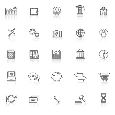 reflect: Economy line icons with reflect on white background, stock vector