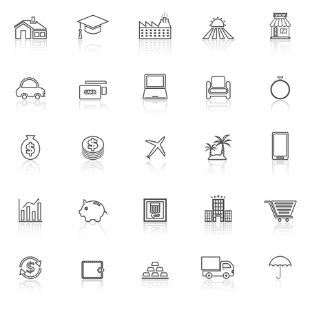 borrowing money: Loan line icons with reflect on white background, stock vector