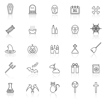 reflect: Halloween line icons with reflect on white background, stock vector