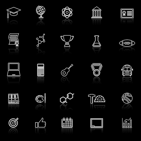 College line icons with reflect on black background, stock vector Illustration
