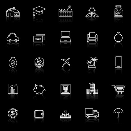 borrowing money: Loan line icons with reflect on black background, stock vector