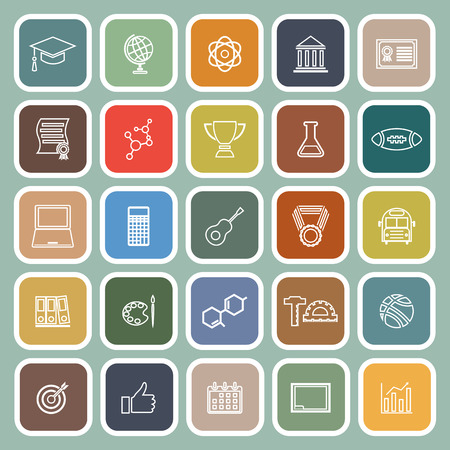 scholarly: College line flat icons on green background, stock vector