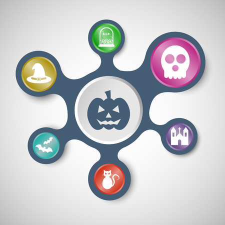 mourn: Halloween infographic templates with connected metaballs, stock vector