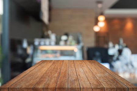 Immagini Stock Piano Tavolo In Legno Di Prospettiva Con Sfondo Sfocato Caffe Modello Di Visualizzazione Del Prodotto Image 60125329