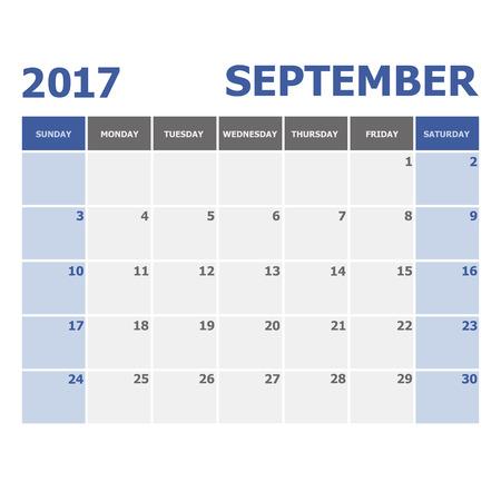 september calendar: 2017 September calendar week starts on Sunday, stock vector Illustration