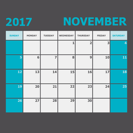 november calendar: November 2017 November calendar week starts on Sunday, stock vector