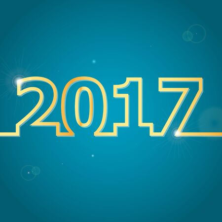 newyear: 2017 Happy New Year on blue background, stock vector