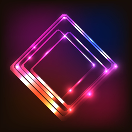 Abstract glowing colorful background with rounded rectangle, stock vector