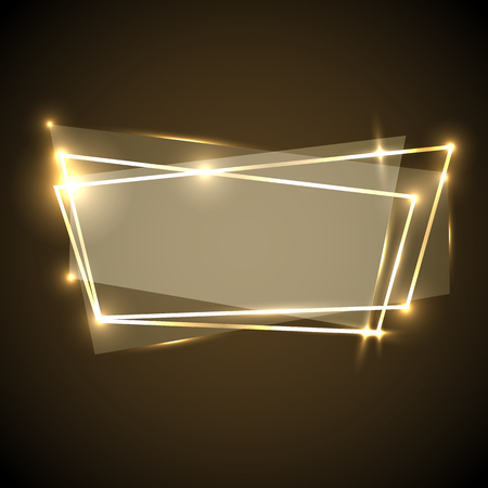 Abstracte achtergrond met gouden neonbanner, voorraadvector