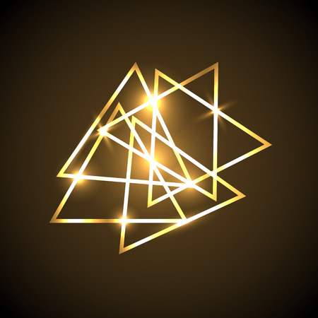 Abstract background with gold neon triangles, stock vector