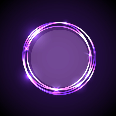 paranormal: Abstract background with purple neon circles banner, stock vector