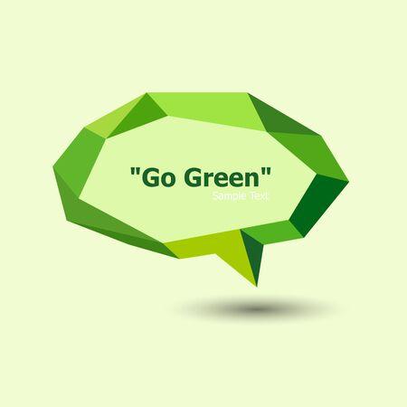 text bubble: Green polygonal geometric speech bubble, stock vector