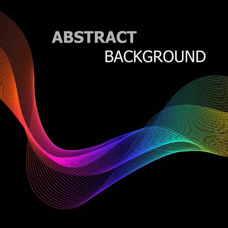 Abstract background with colorful line wave on black, stock vector Illustration
