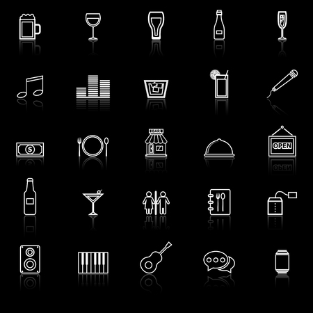 Bar line icons with reflect on black background, stock vector Illustration