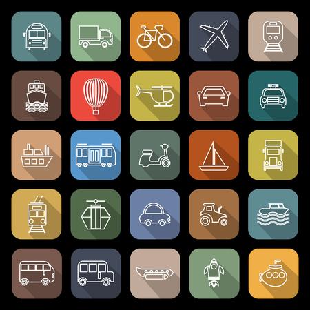 Transport lijn platte pictogrammen met lange schaduw, voorraad vetor