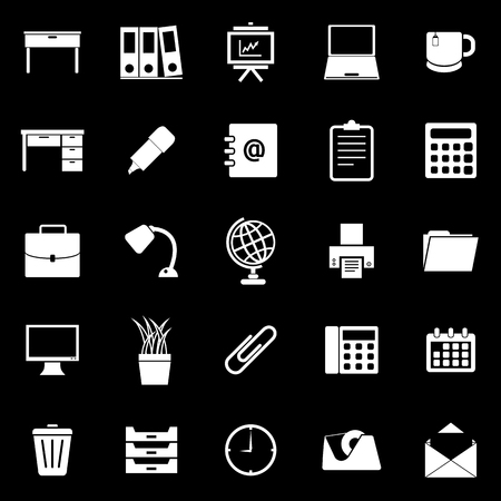 Workspace icons on black background, stock vector
