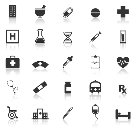 general practitioner: Pharmacy icons with reflect on white background, stock vector