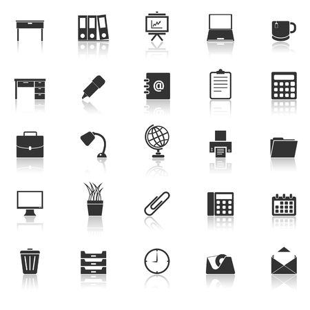 Workspace icons with reflect on white background, stock vector Illustration