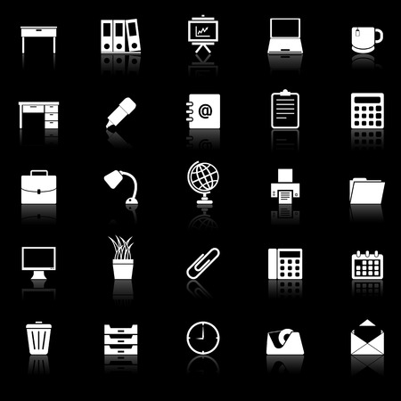 Workspace icons with reflect on black background, stock vector