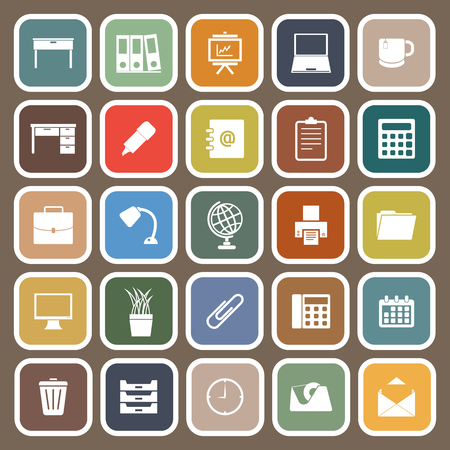 Workspace flat icons on brown background, stock vector Illustration